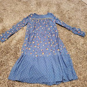 Boden Woven Hotchpotch Dress Blue Floral 11-12Y